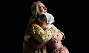 Show me love … Barrie Rutter as Lear and Catherine Kinsella as Cordelia, in Jonathan Miller's King Lear. Photograph: Nobby Clark
