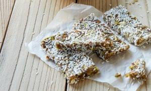 Date, pistachio and coconut breakfast bars
