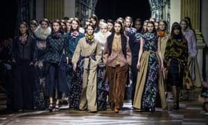 Models present the autumn/winter 2015 collection by Belgian designer Dries Van Noten at Paris fashion week