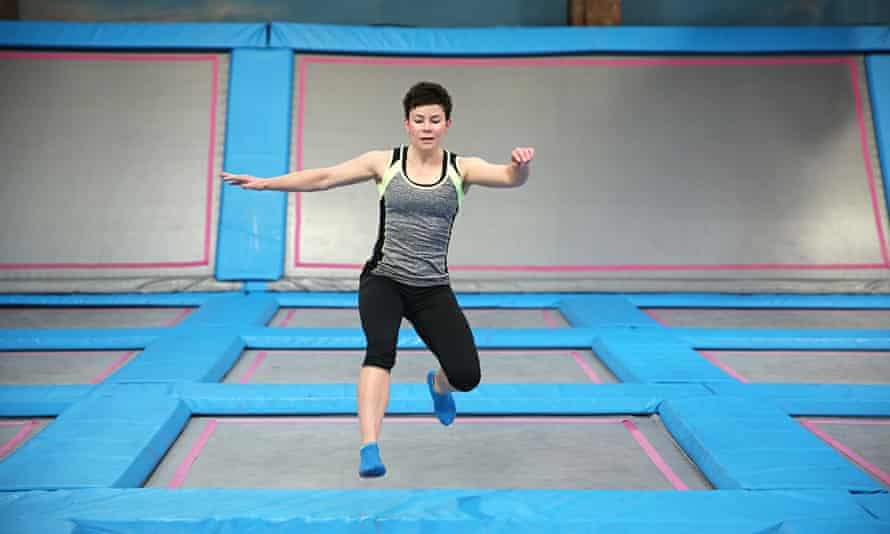 Rachel Dixon trampolining at AirHop, Guildford.