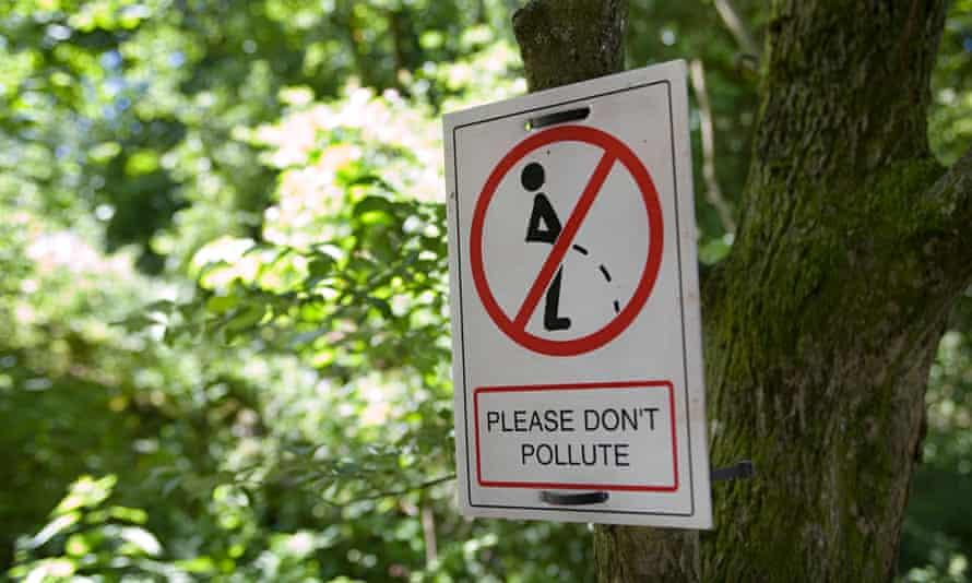 Glastonbury festival no urinating sign