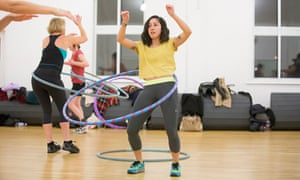 Danielle Goldstein tries out hula hooping.