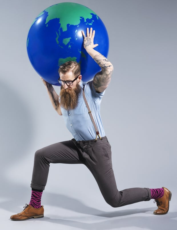 Hipsters modelled by Jimmy 'Bear Face' Woodshot for the Observer Photograph: Joseph Ford/Observer