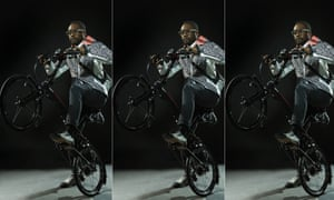 Will.i.am, wearing and riding items from his range of recycled luxury goods.