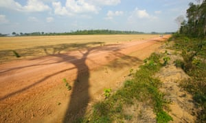 A vast area of Amazonian rainforest cleared for soya bean cultivation Belterra nr Santarem Para state Brazil.