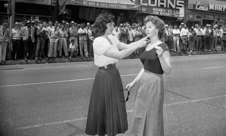 Actor Susan Hayward prepares to film a scene for I'll Cry Tomorrow in Skid Row, 1955.