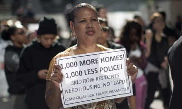 A Skid Row protester outside LAPD headquarters.