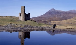 A ruin of the sixteenth century Ardvreck Castle, on Loch Assynt in Scotland.