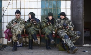Pro-Russian rebels on a base near Mariupol, Ukraine. Photograph: Pierre Crom/Getty Images
