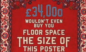 One of the new posters installed in Westminster highlighting the lack of affordable housing in London and the UK. Image: Homes for Britain