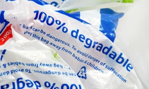 A Tesco plastic carrier bag, made out of allegedly 100% degradable plastic