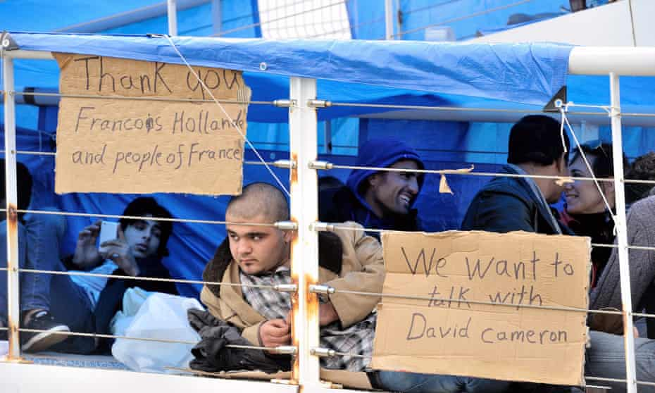 Syrian refugees at a ferry terminal in Calais.