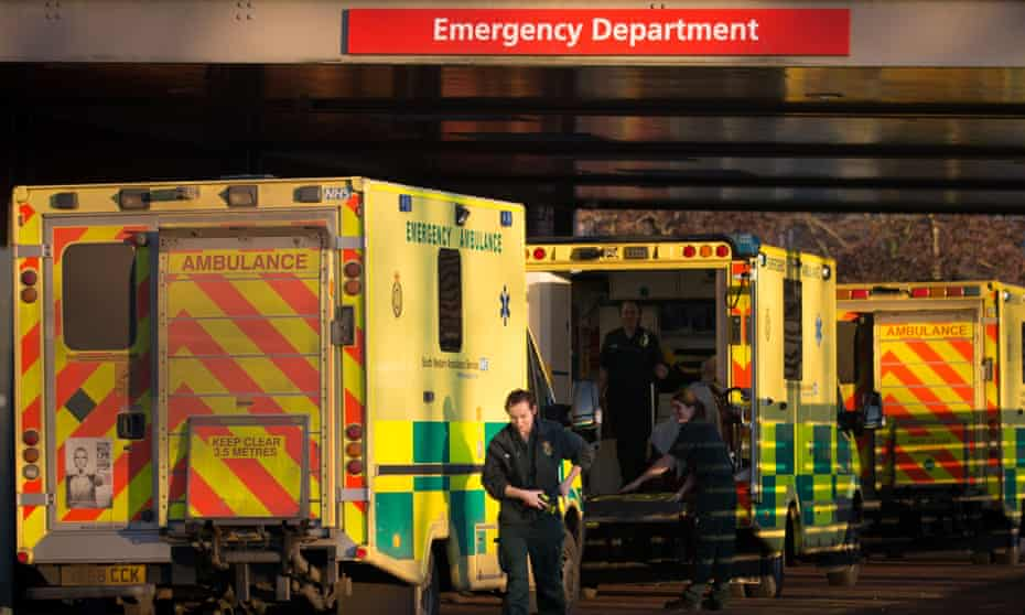 Line of ambulances outside an emergency unit
