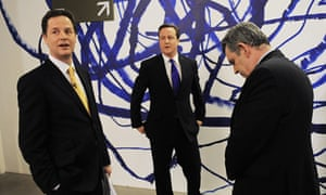 How it was in 2010: Nick Clegg, David Cameron (C),, and Gordon Brown before the second of three live