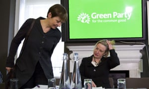 Green MP Caroline Lucas and Green leader Natalie Bennett at the launch of their party's campaign.