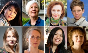 Classical composers composite image: Unsuk Chin, Judith Weir, Kaija Saariaho, Tansy Davies, Charlotte Bray, Rebecca Saunders, Liza Lim and Sally Beamish
