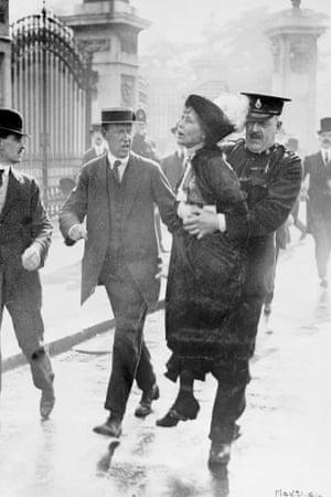 Emmeline Pankhurst is arrested in 1914.