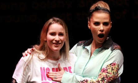 Katie Price, right, with Everyday Sexism founder Laura Bates at the 2014 Women of the World festival.