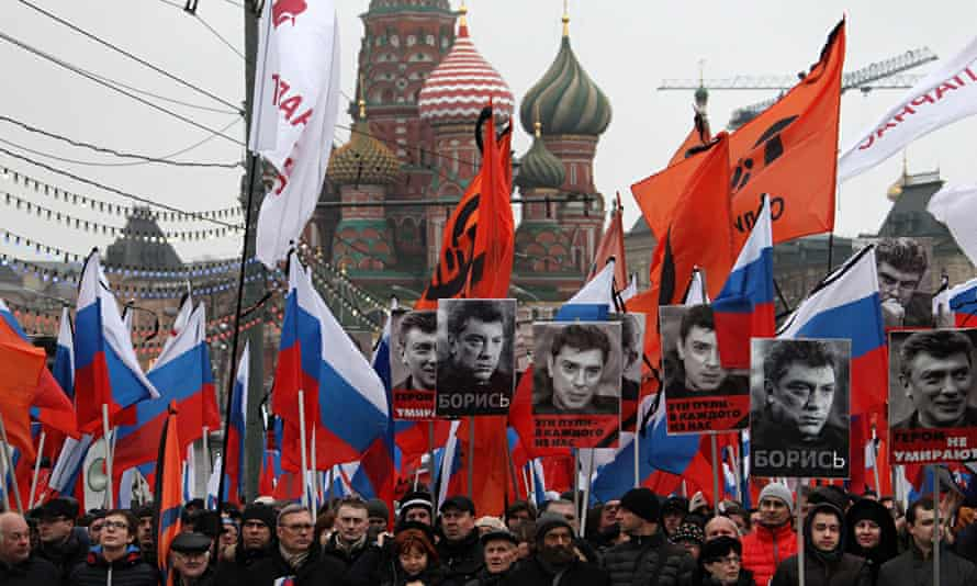 Boris Nemtsov Mourners March in Moscow