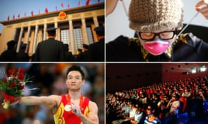 Military delegates at the national People's Congress, an office worker puts on her mask, moviegoers in Wuhan, Yang Wei at the Beijing Olympics.