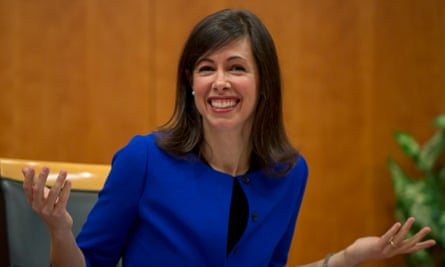 Federal communications commissioner Jessica Rosenworcel after the FCC vote on net neutrality in the US. The FCC adopted and set sustainable rules of the road that will protect free expression and innovation on the internet.
