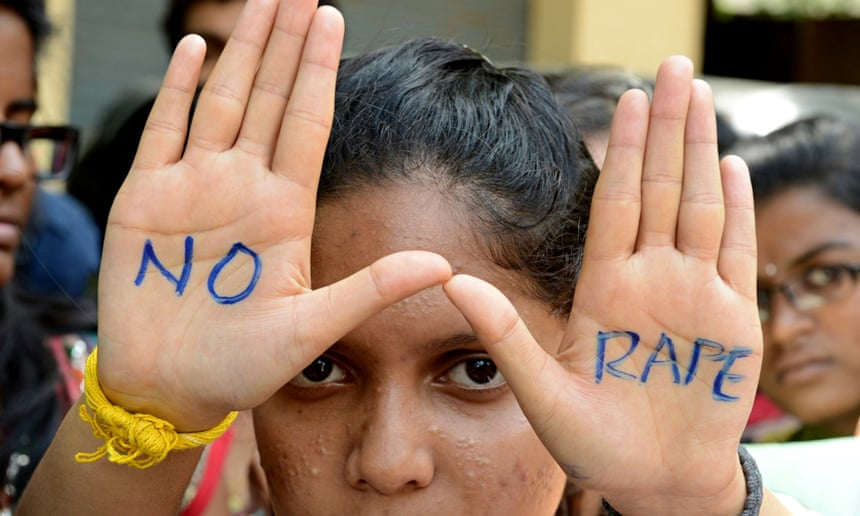 Anti-rape protest in Hyderabad in September 2013. Photograph: Noah Seelam/AFP