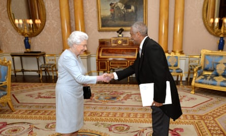 The Queen shakes hands with Estifanos Habtemariam the new ambassador of Eritrea, during a private audience at Buckingham Palace on 17 February 2015.