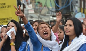 Student protesters during a demonstration following the alleged rape of a woman in Dimapur.