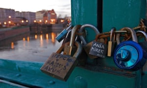A photo taken on February 12, 2011 shows padlocks on Tumski Bridge, known as the Bridge of Lovers, in Wroclaw.