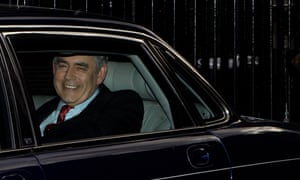 Gordon Brown leaving Downing Street to tender his resignation to the Queen on 11 May 2010