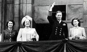 Princess Elizabeth (now the Queen), Queen Elizabeth (later the Queen Mother), King George VI and Princess Margaret on a balcony at Buckingham Palace in London during VE Day celebrations in 1945.