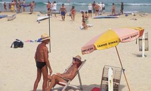 Sunbathers on Sydney's Bondi beach enjoy a sunny afternoon.