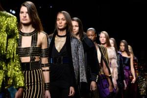 Models walk the runway during the Balmain show in Paris