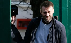 Alexei Navalny walks out of the detention centre on Friday.