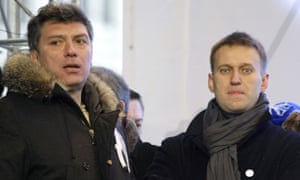 Alexei Navalny (right) and the late Boris Nemtsov at a protest rally in Moscow.