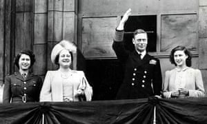 Queen Elizabeth II, far left, joins her mother, Queen Elizabeth, her father, King George VI, and her sister, Princess Margaret, on the balcony of Buckingham Palace on VE Day