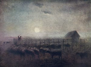 The Sheepfold, Moonlight, 1856-60 by Jean-François Millet: 'sheep, moon, shepherd, dog: what a great sonneteer and shape-maker he was'.
