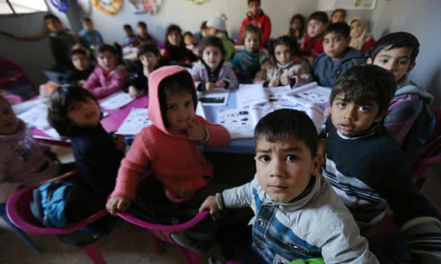 Syrian children at a school in the Lebanese village of Qaraoun.