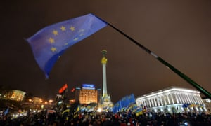 The EU flag waves on Independence Square in Kiev during anti-government protests. Maidan Ukraine