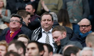 Newcastle United owner Mike Ashley watches from the stands as his team plays Aston Villa.