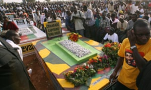 Supporters of Thomas Sankara gather at his grave on the 20th anniversary of his death in 2007.
