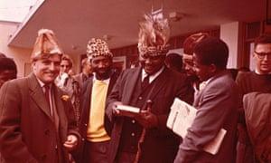 Terence Ranger before his deportation from Southern Rhodesia in 1963. Left to right: Ranger, Shelagh Ranger, Maurice Nyagumbo, Joshua Nkomo, Robert Chikerema, Robert Mugabe and John Reed.