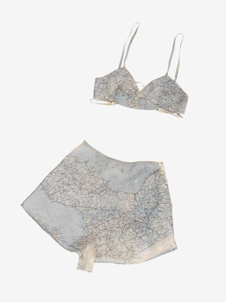 A set of Countess Mountbatten's underwear made from a silk map given to her by a boyfriend in the Royal Air Force.