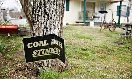 A sign protesting against coal ash in Uniontown