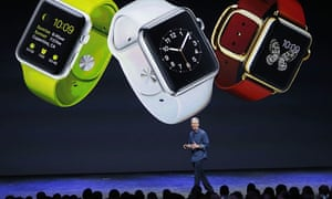 Tim Cook previews the Apple Watch at a media event in California last year.
