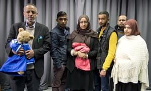 The families of Amira Abase and Shamima Begum at a Met police press conference on 22 February.