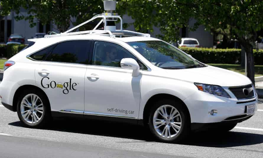 A Google self-driving car goes on a test drive in Mountain View, Calif.