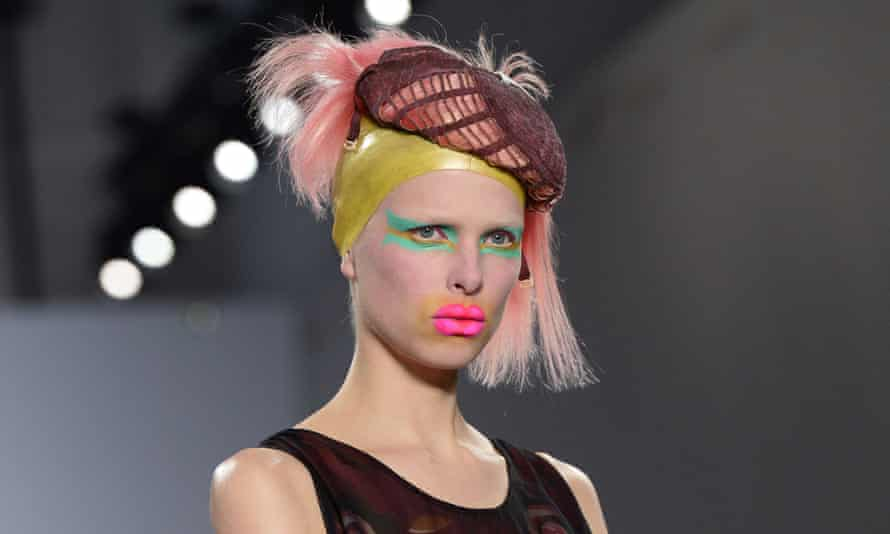 A model presents a creation for Maison Margiela during the show, as part of John Galliano's return to the Paris catwalk.