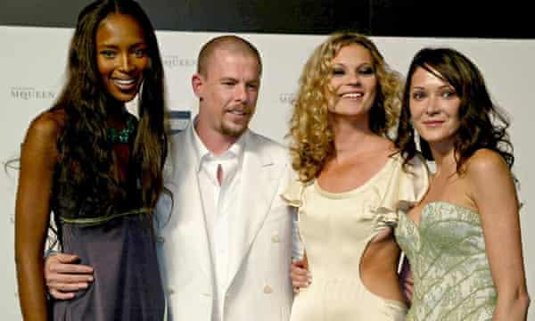 Alexander McQueen with models in 2004