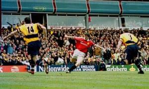 Roy Keane's goal is disallowed for offside.